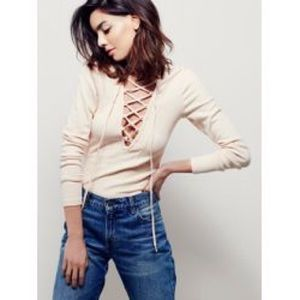 Free People Lucky Lace Up Long Sleeve Top Blush S